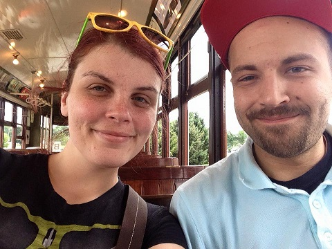Trolley Selfies at the Lowell Folk Fest